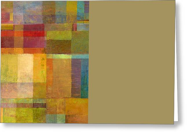 Color Collage With Green And Red Greeting Card by Michelle Calkins