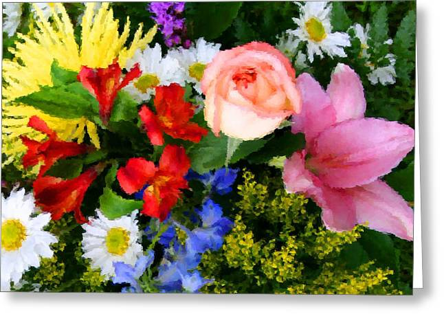 Asters Mixed Media Greeting Cards - Color Explosion Greeting Card by Kristin Elmquist