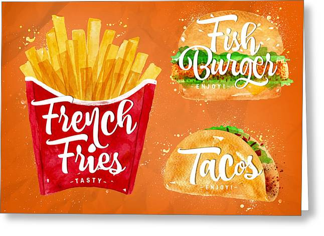 Color French Fries Greeting Card by Aloke Design