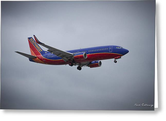 Color Me Beautiful Southwest Airlines N382sw Boeing 737 Airliner Art Greeting Card by Reid Callaway