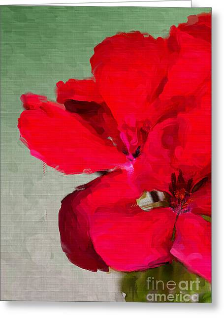 Red Geraniums Digital Greeting Cards - Color Me Red Greeting Card by Betty LaRue