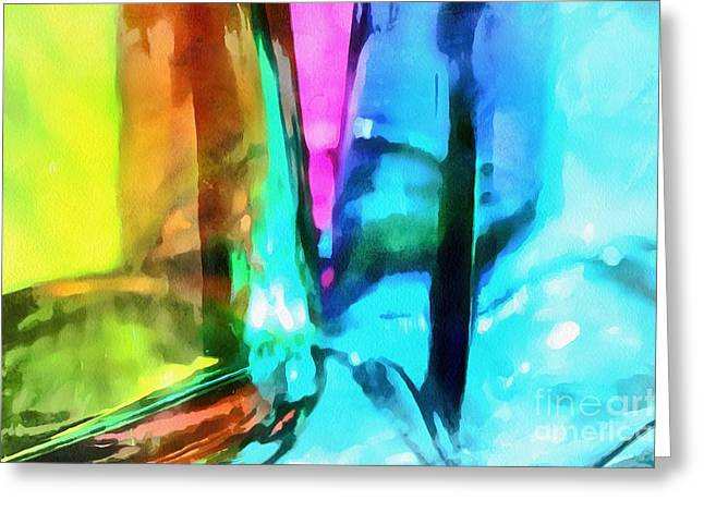Painted Glass Greeting Cards - Color Of Imagination Greeting Card by Krissy Katsimbras