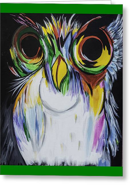 Psychedelic Owl Greeting Cards - Color Owl Greeting Card by Donna Marshall