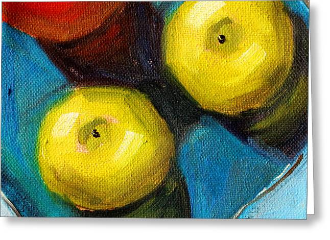 Square Format Paintings Greeting Cards - Color Show Apple Art Greeting Card by Nancy Merkle
