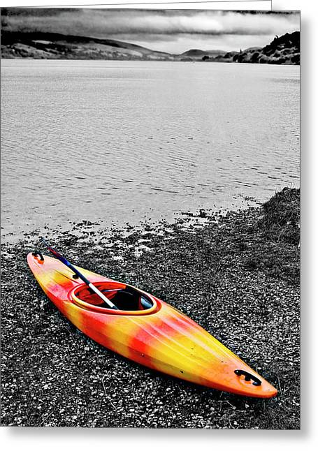 Kayaking Greeting Cards - Color Splash Greeting Card by Meirion Matthias