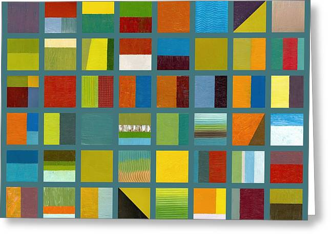 Image Repeat Greeting Cards - Color Study Collage 67 Greeting Card by Michelle Calkins