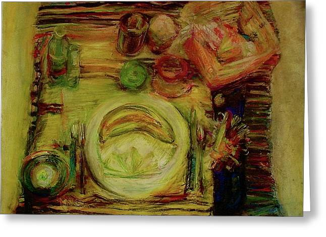 Table Cloth Drawings Greeting Cards - Color Study February Greeting Card by Jana Barros
