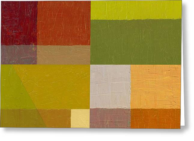 Color Study with Orange and Green Greeting Card by Michelle Calkins
