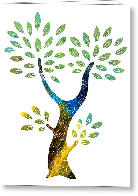 Color Colorful Mixed Media Greeting Cards - Color Tree Greeting Card by Frank Tschakert