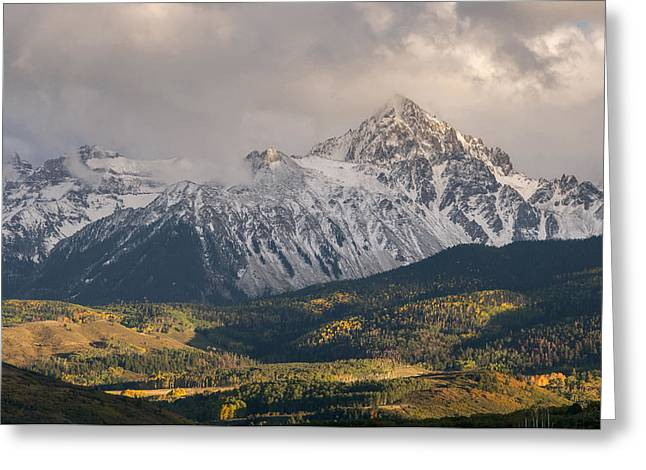 Aspens In Fall Greeting Cards - Colorado 14er Mt. Sneffels Greeting Card by Aaron Spong