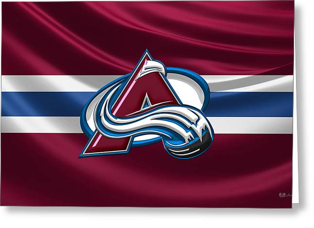 Hockey Memorabilia Greeting Cards - Colorado Avalanche - 3D Badge over Silk Flag Greeting Card by Serge Averbukh