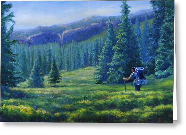 Backpacking Paintings Greeting Cards - Colorado Backpacker Greeting Card by Susan Thacker