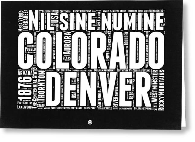 Connecticut Greeting Cards - Colorado Black and White Word Cloud Map Greeting Card by Naxart Studio