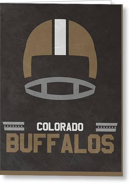 Colorado Buffalos Vintage Football Art Greeting Card by Joe Hamilton