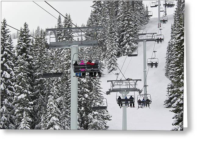 Snowboard Greeting Cards - Colorado Chair Lift during Winter Greeting Card by Brendan Reals