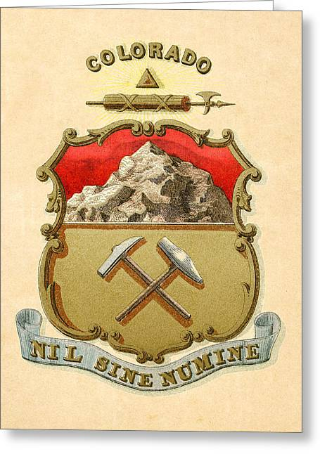 1876 Digital Greeting Cards - Colorado Historical Coat of Arms circa 1876 Greeting Card by Serge Averbukh