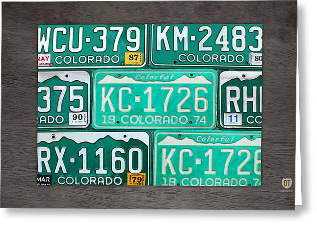 Colorado Greeting Cards - Colorado License Plate Map Recycled Car Tag Art Greeting Card by Design Turnpike