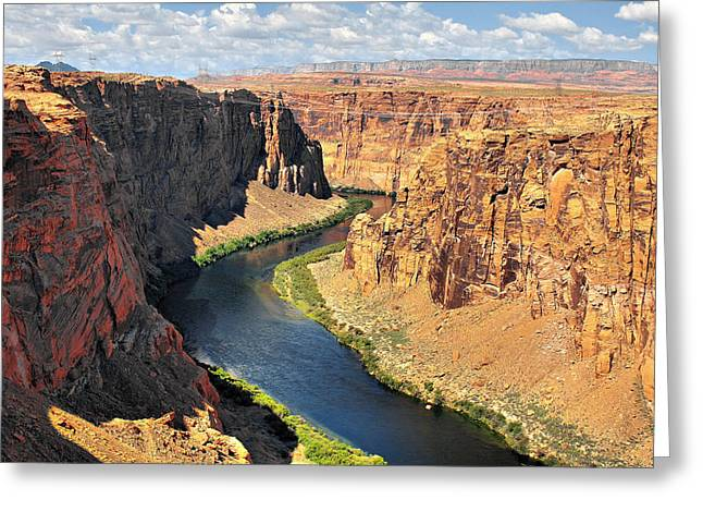 Curved Greeting Cards - Colorado River at Marble Canyon AZ Greeting Card by Christine Till
