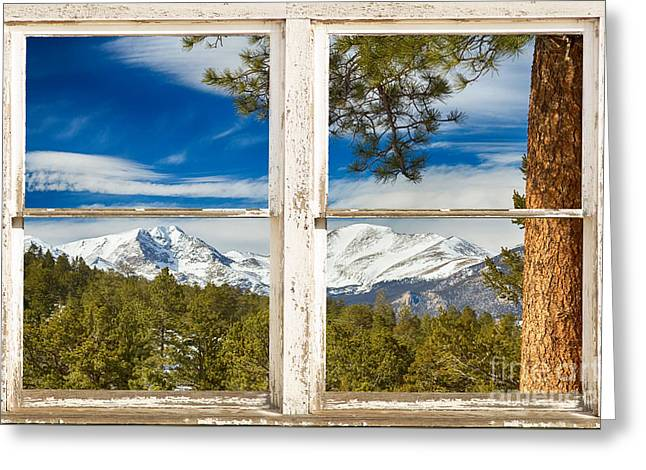 Colorado Mountain Posters Greeting Cards - Colorado Rocky Mountain Rustic Window View Greeting Card by James BO  Insogna