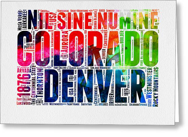 Connecticut Greeting Cards - Colorado Watercolor Word Cloud Map  Greeting Card by Naxart Studio