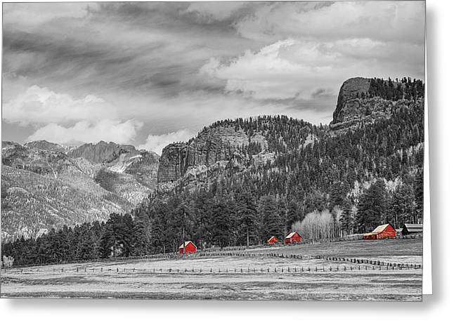 Wolf Creek Greeting Cards - Colorado Western Landscape Red Barns Greeting Card by James BO  Insogna