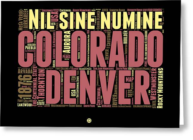 Connecticut Greeting Cards - Colorado Word Cloud Map 1 Greeting Card by Naxart Studio