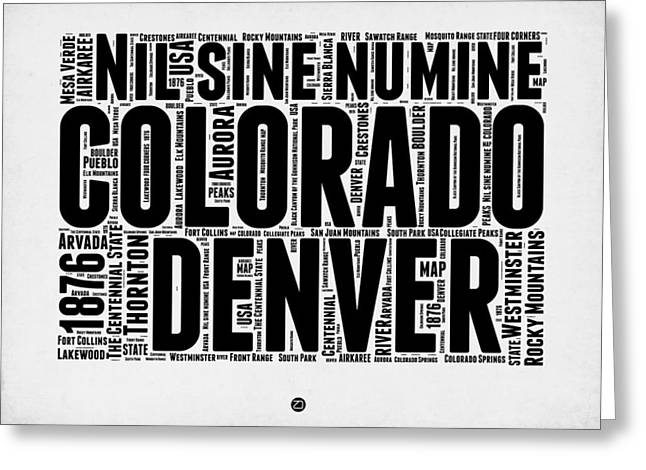 Connecticut Greeting Cards - Colorado Word Cloud Map 2 Greeting Card by Naxart Studio