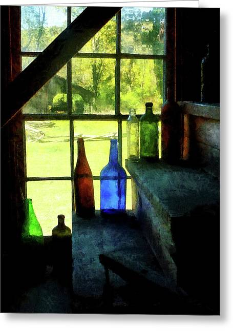 Window Greeting Cards - Colored Bottles On Steps Greeting Card by Susan Savad