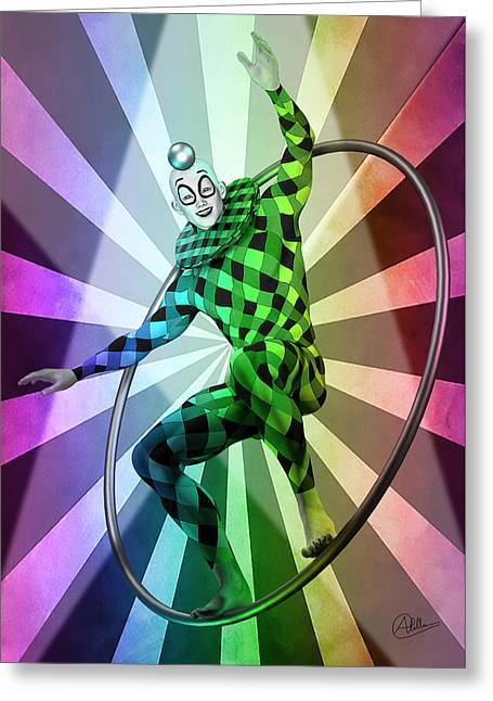 Jester Mixed Media Greeting Cards - Colored Circus By Quim Abella Greeting Card by Joaquin Abella