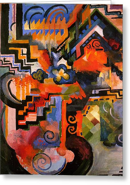 Hommage Greeting Cards - Colored Composition Greeting Card by August Macke