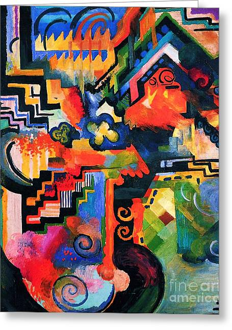 Macke Greeting Cards - Colored Composition Greeting Card by Pg Reproductions
