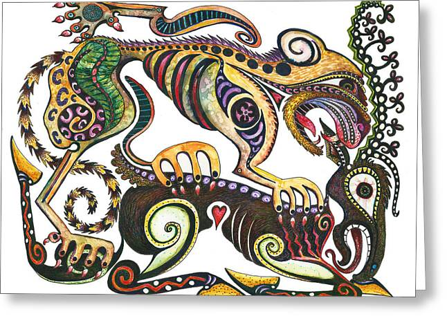 Colored Cultural Zoo D Sarmatian Struggle Greeting Card by Melinda Dare Benfield