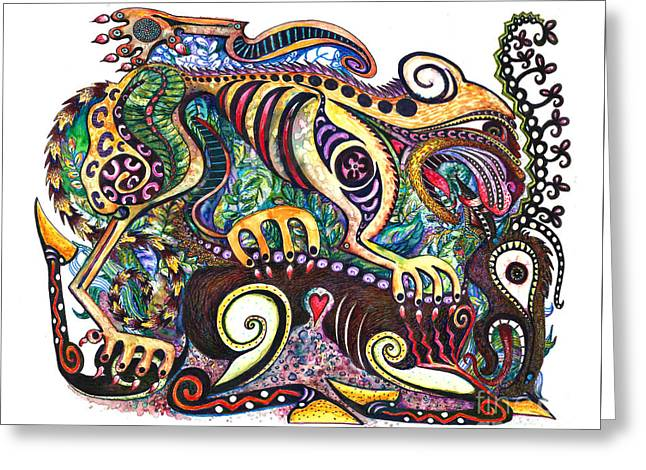 Colored Cultural Zoo D Version 2 Greeting Card by Melinda Dare Benfield