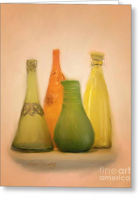 Glass Bottle Greeting Cards - Colored Glass Greeting Card by Susan  Lipschutz