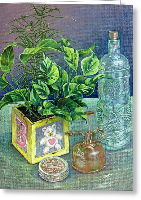 Fine Bottle Drawings Greeting Cards - Colored Pencil Still Life Greeting Card by Stephen Boyle