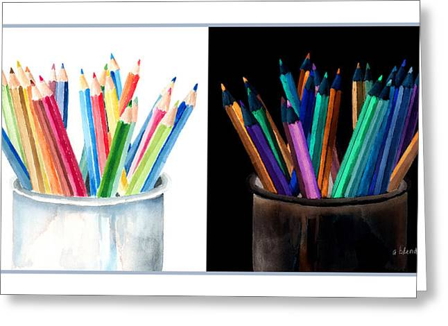 Colored Pencil Drawings Greeting Cards - Colored Pencils - The Positive And The Negative Greeting Card by Arline Wagner