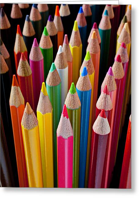 Concept Photographs Greeting Cards - Colored pencils Greeting Card by Garry Gay