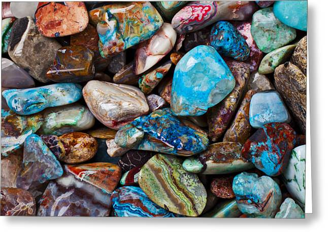 Colored Polished Stones Greeting Card by Garry Gay