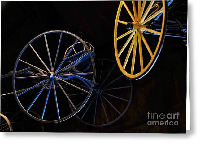 Struckle Greeting Cards - Colored Wheels Greeting Card by Kathleen Struckle