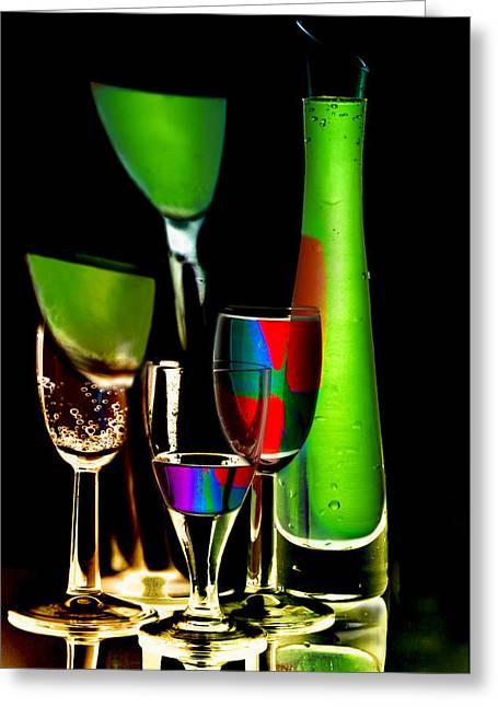Reflection Glass Greeting Cards - Colored wine glasses and bottles of drinks  Greeting Card by   larisa Fedotova