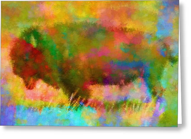 Colorful Abstract Bison Greeting Card by Dan Sproul