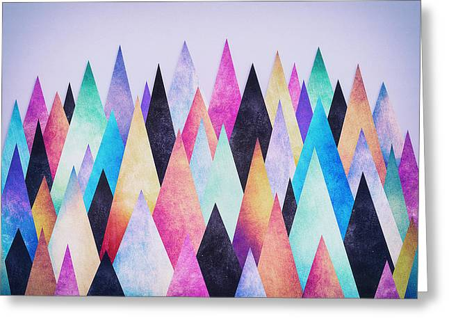 Subtle Colors Greeting Cards - Colorful Abstract Geometric Triangle Peak Woods  Greeting Card by Philipp Rietz