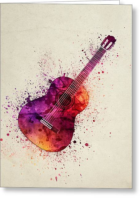 Player Digital Greeting Cards - Colorful Acoustic Guitar 03 Greeting Card by Aged Pixel