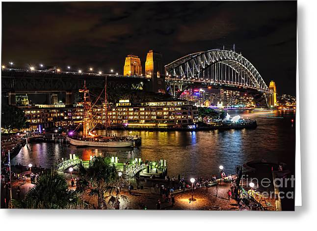 Night-scape Greeting Cards - Colorful Activity Sydney Harbour by Kaye Menner Greeting Card by Kaye Menner