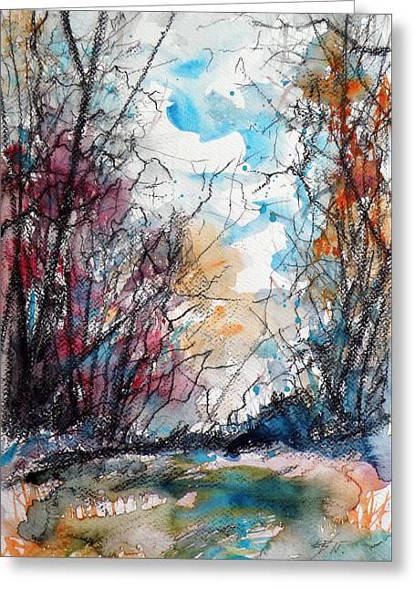 Black Carbon Greeting Cards - Colorful autumn Greeting Card by Kovacs Anna Brigitta