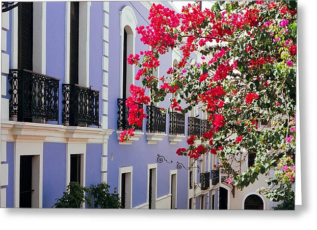 Colonial Architecture Greeting Cards - Colorful Balconies of Old San Juan Puerto Rico Greeting Card by George Oze
