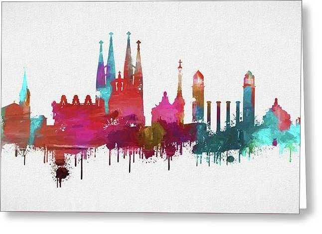 Colorful Barcelona Skyline Silhouette Greeting Card by Dan Sproul