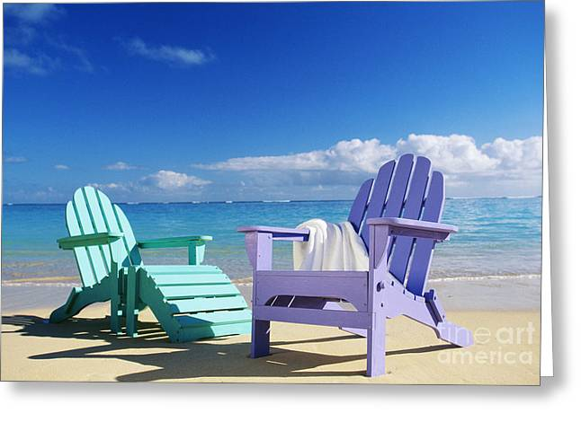Beach Towel Greeting Cards - Colorful Beach Chairs Greeting Card by Dana Edmunds - Printscapes