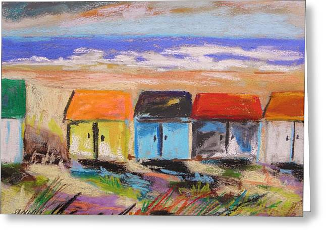 Sandy Beaches Drawings Greeting Cards - Colorful Beach Houses Greeting Card by John  Williams