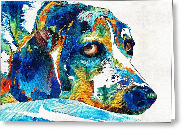 Puppy Dog Eyes Greeting Cards - Colorful Beagle Dog Art by Sharon Cummings Greeting Card by Sharon Cummings